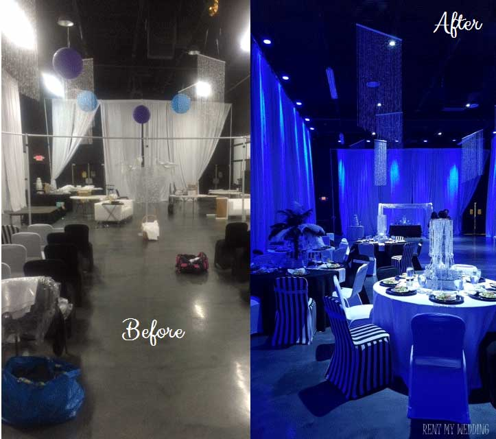 Before and After Uplighting Wedding Reception Transformation | Rent online for $19/each + free shipping both ways nationwide at www.RentMyWedding.com/Rent-Uplighting