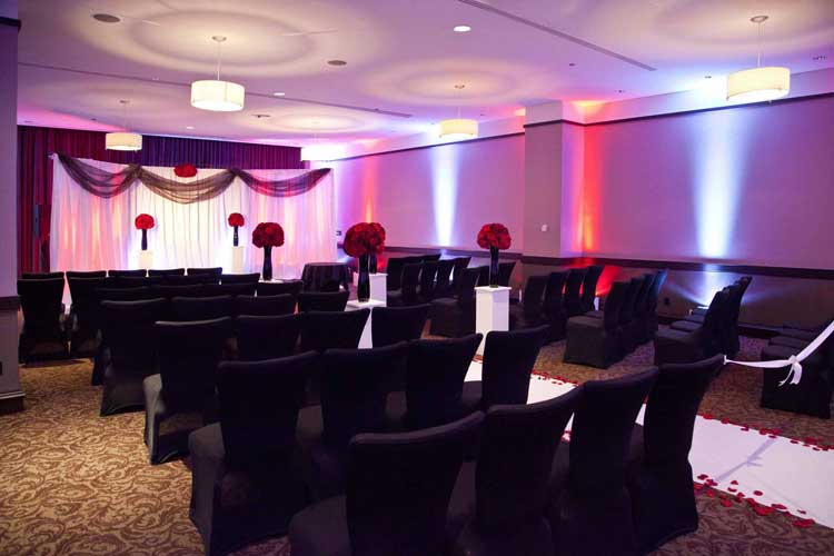 Red and blue uplighting for wedding ceremony | Rent online for $19/each + free & Rent Wireless Uplights with FREE Shipping Nationwide for Weddings ... azcodes.com