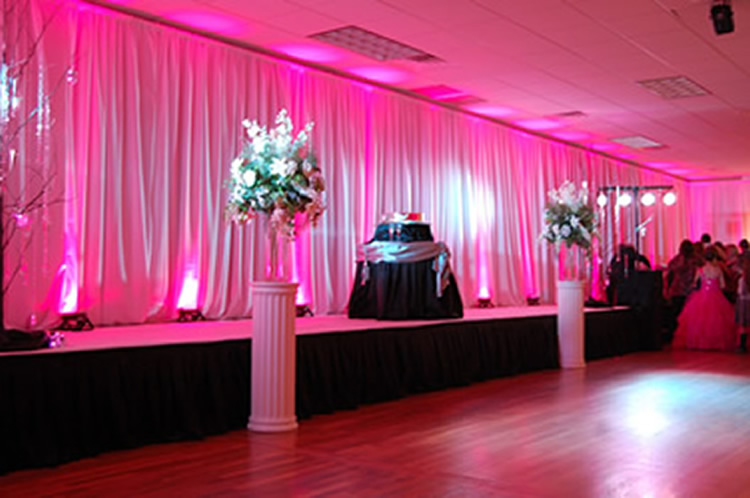 Pink Uplighting On Pipe U0026 Drape Backdrop | Rent Online For $19/each + Free