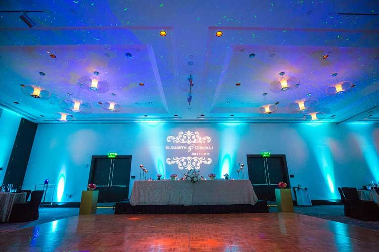 Rent wireless uplights with free shipping nationwide for weddings blue wireless uplighting for a wedding reception rent online for 19each free solutioingenieria Images