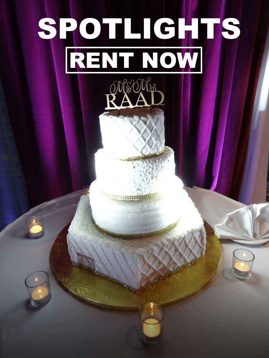 Spotlight rentals to illuminage your wedding cake or centerpieces!  As low as $12/each plus FREE shipping  nationwide with www.RentMyWedding.com