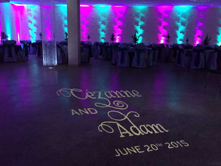 Teal and Fuschia Uplighting for Banquet Hall | Rent online for $19/each + free shipping both ways nationwide at www.RentMyWedding.com/Rent-Uplighting