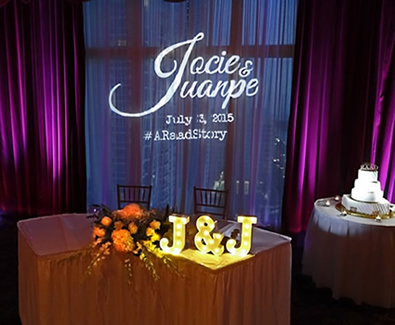 Sweetheart Table Gobo Monogram || FREE shipping nationwide with Rent My Wedding.  Easy DIY setup for all rentals.