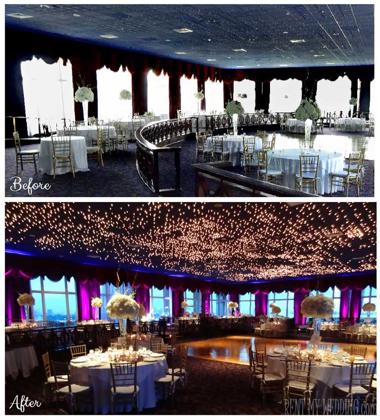Before and After Uplighting for Daytime Event with Windows | Rent online for $19/each + free shipping both ways nationwide at www.RentMyWedding.com/Rent-Uplighting