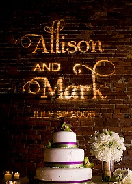 ALLISON AND MARK GOBO LIGHTING || FREE shipping nationwide with Rent My Wedding.  Easy DIY setup for all rentals.