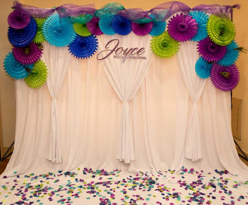 Backdrop with glitter