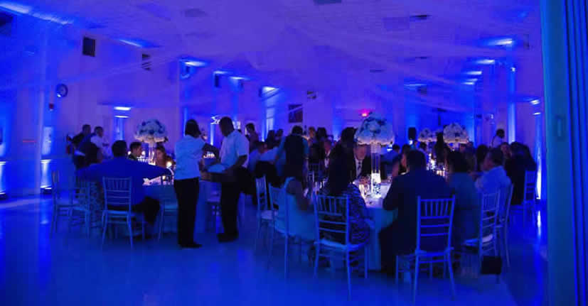 blue uplighting, blue up lights, blue up lighting, wedding lighting