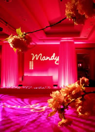 SWEET 16 GOBO LIGHTING || FREE shipping nationwide with Rent My Wedding.  Easy DIY setup for all rentals.