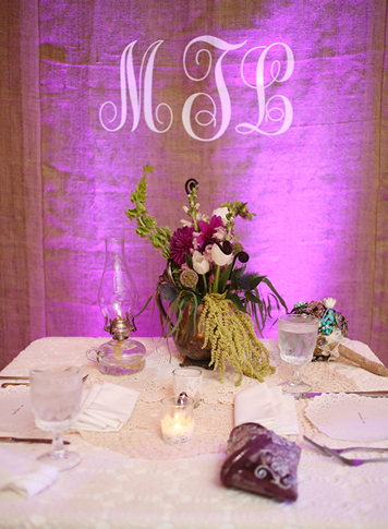 Guest Book Table Backdrop with Monogram Lighting || FREE shipping nationwide with Rent My Wedding.  Easy DIY setup for all rentals.