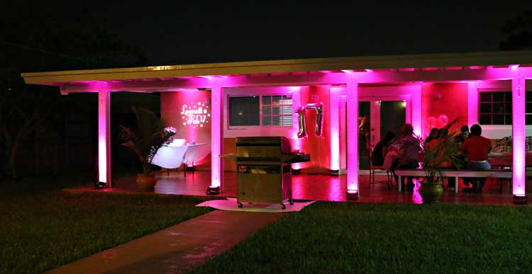 Pink uplighting for outdoor party | Rent online for $19/each + free shipping both ways nationwide at www.RentMyWedding.com/Rent-Uplighting