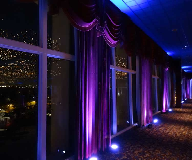 Wireless Uplighting on Curtains | Rent online for $19/each + free shipping both ways nationwide at www.RentMyWedding.com/Rent-Uplighting