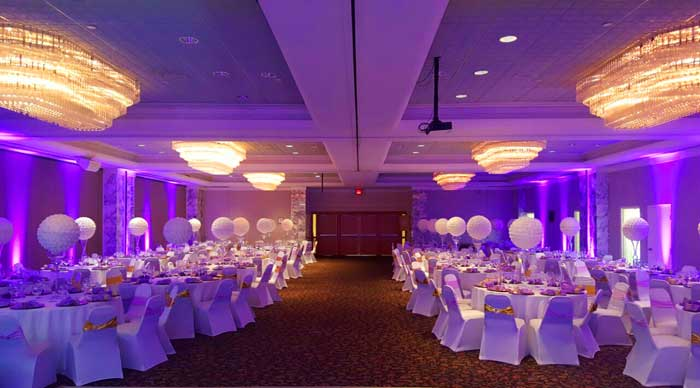 Purple Uplighting With Chair Covers