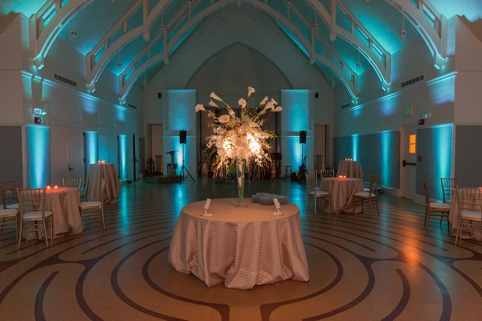 Teal Uplighting for Wedding Reception